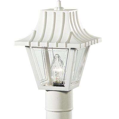 Mansard Collection 1-Light Outdoor White Post Lantern