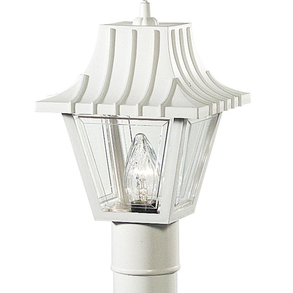 Progress Lighting Mansard Collection 1-Light Outdoor White Post Lantern