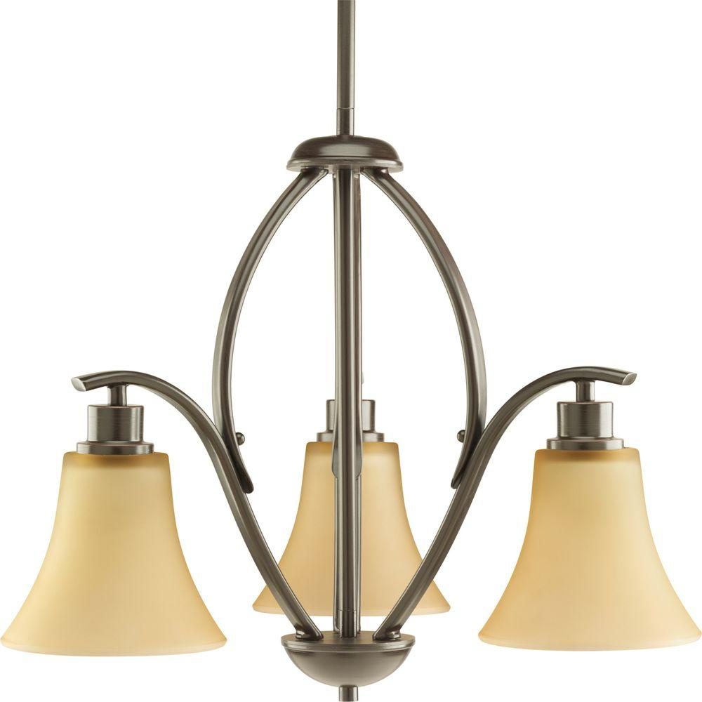 Joy Collection 3-Light Antique Bronze Chandelier with Etched Light Umber Glass