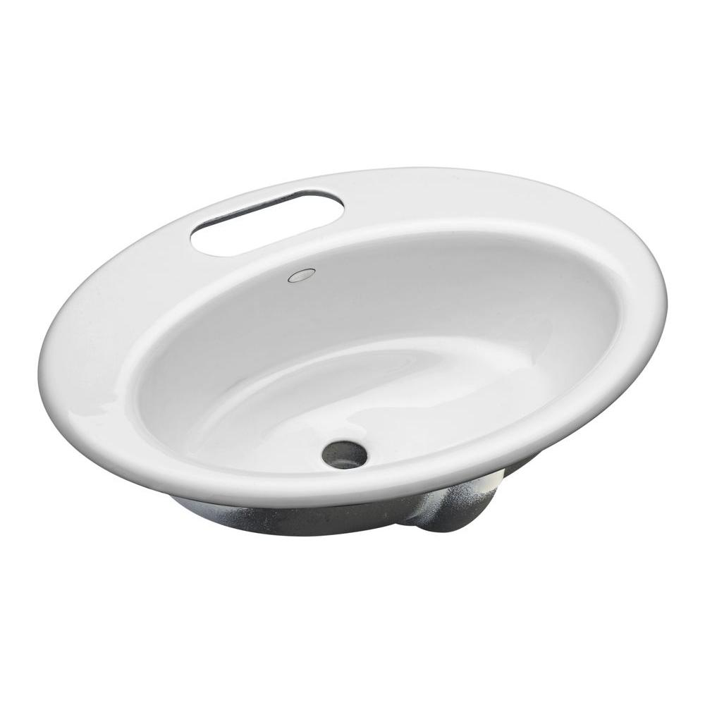Kohler thoreau undermount cast iron bathroom sink in white with overflow drain k 2907 4u 0 the Kohler cast iron bathroom sink