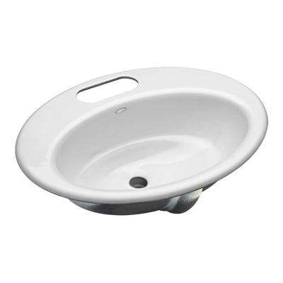 Thoreau Undermount Cast Iron Bathroom Sink in White with Overflow Drain
