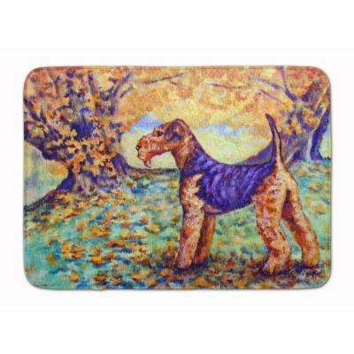 19 in. x 27 in. Autumn Airedale Terrier Machine Washable Memory Foam Mat