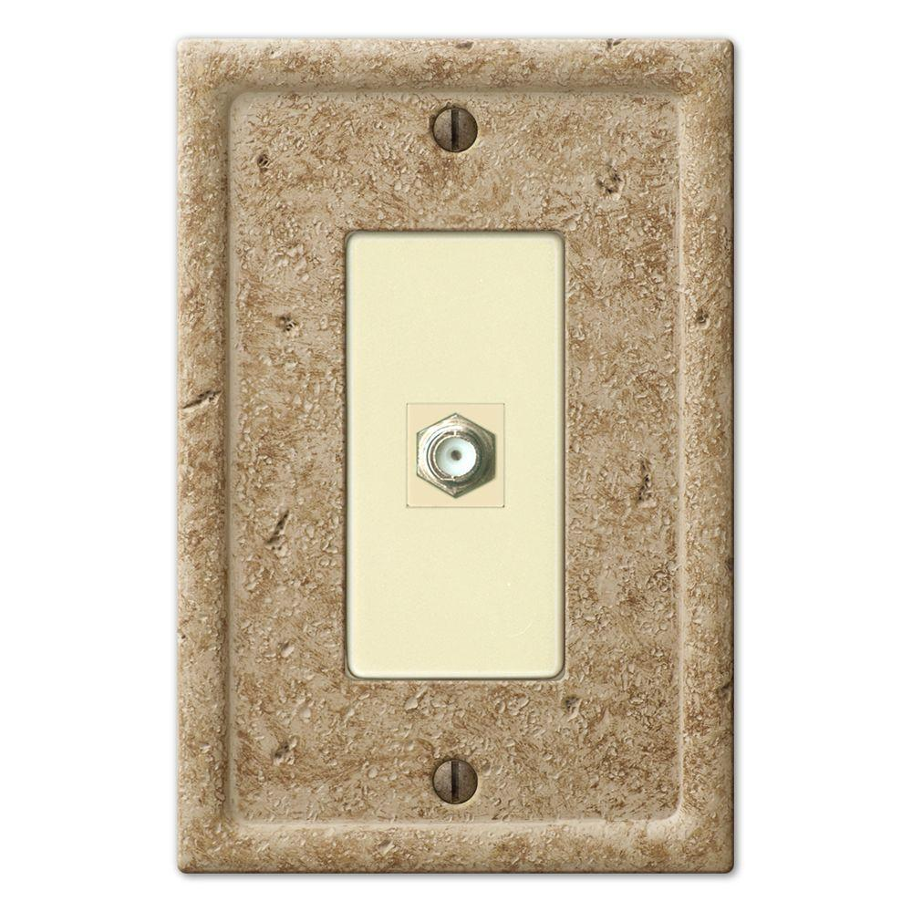 Creative Accents Textured Stone 1 Video Wall Plate - Noce-DISCONTINUED