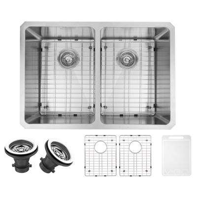 Undermount Stainless Steel 29 in. Double Basin Kitchen Sink with Grid and Strainer