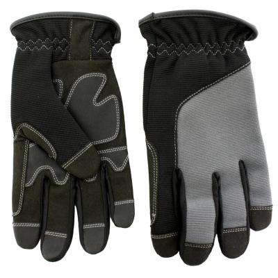 Black Synthetic Leather Palm with Spandex Back