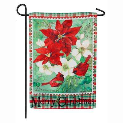 18 in. x 12.5 in. Christmas Floral Garden Suede Flag