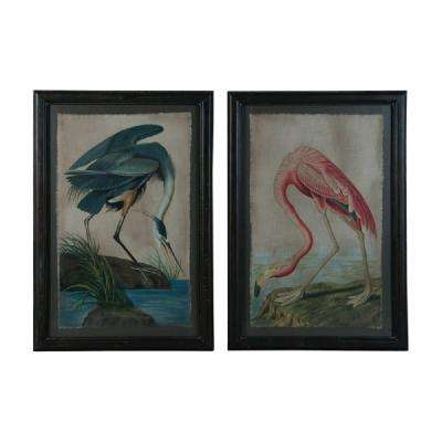 "44 in. x 30 in. ""Blue Heron And Flamingo"" Framed Hand Painted Wall Art (2-Piece)"