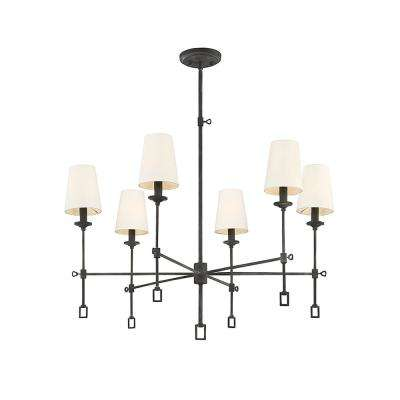 6-Light Oxidized Black Chandelier with Cream Fabric Shade