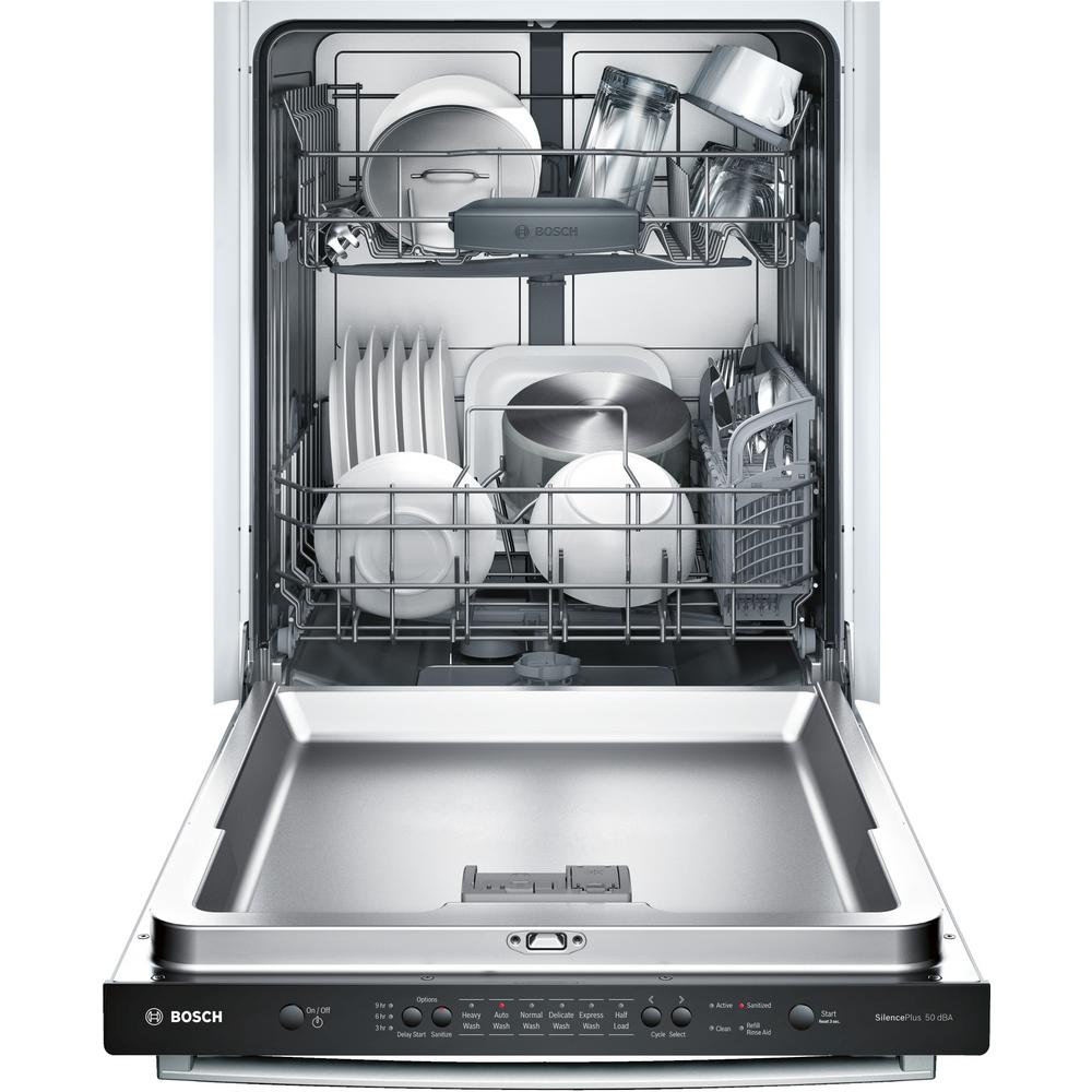 Bosch Ascenta Series Top Control Tall Tub Dishwasher In Stainless Steel With Hybrid Stainless Steel Tub 50dba Shx3ar75uc The Home Depot