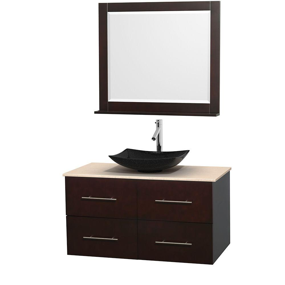 Wyndham Collection Centra 42 in. Vanity in Espresso with Marble Vanity Top in Ivory, Black Granite Sink and 36 in. Mirror