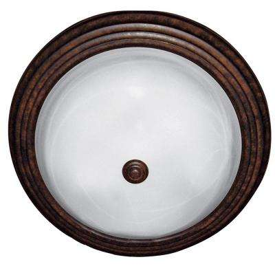 3-Light Dark Brown Flushmount with White Marble Glass Shade
