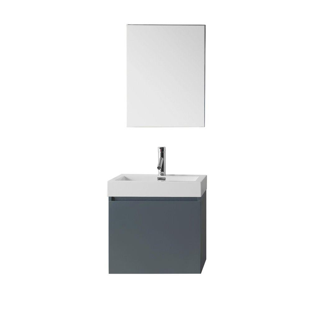 Virtu USA Zuri 24 in. W Bath Vanity in Gray with Polymarble Vanity Top in White Polymarble with Square Basin and Mirror and Faucet