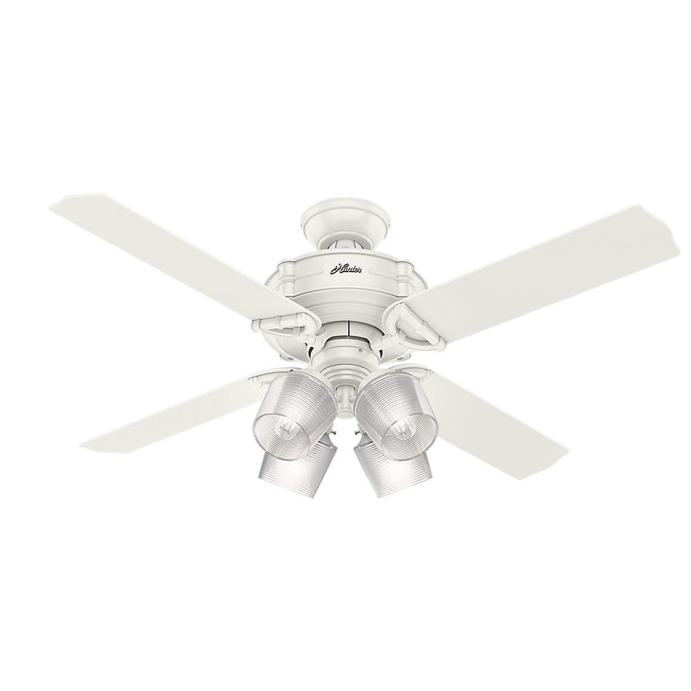 Hunter brunswick 52 in led indoor fresh white ceiling fan with led indoor fresh white ceiling fan with integrated handheld remote and 4 light kit 54184 the home depot mozeypictures Gallery