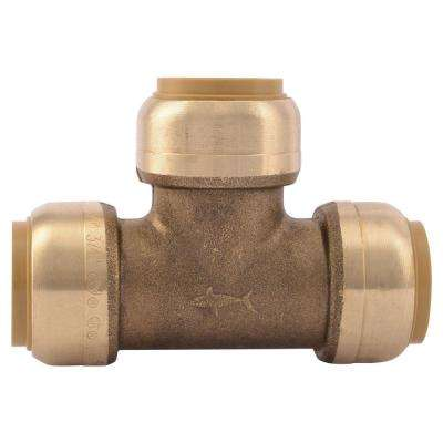 3/4 in. Brass Push-to-Connect Tee Contractor Pack (10-Pack)