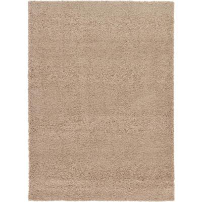 Solid Shag Taupe 7 ft. x 10 ft. Area Rug