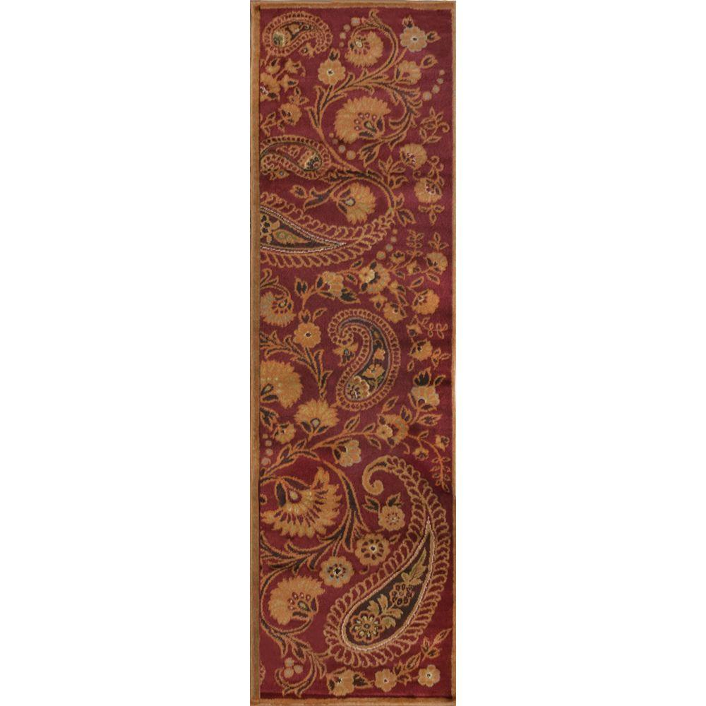 Home Dynamix Paisley Red 1 ft. 9 in. x 7 ft. 2 in. Indoor Runner