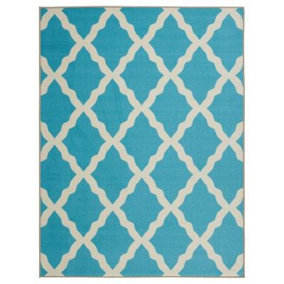 Ottomanson Glamour Collection Contemporary Moroccan Trellis Design Blue 3 Ft X 5 Ft Kids Area Rug Pnk7026 3x5 The Home Depot