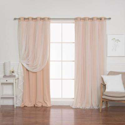 Indie Pink 108 in. L Marry Me Lace Overlay Blackout Curtain Panel  (2-Pack)