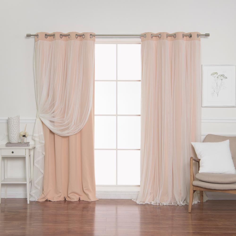 Best Home Fashion 84 in. L Indie Pink Marry Me Lace Overlay Blackout Curtain Panel  (2-Pack)