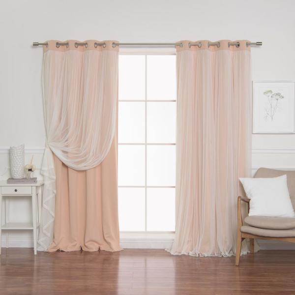 84 in. L Indie Pink Marry Me Lace Overlay Blackout Curtain Panel  (2-Pack)