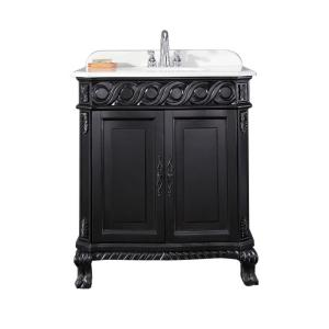 Thurles 30 in. Vanity in Black Antique with Cultured Marble Vanity Top in White with White Basin