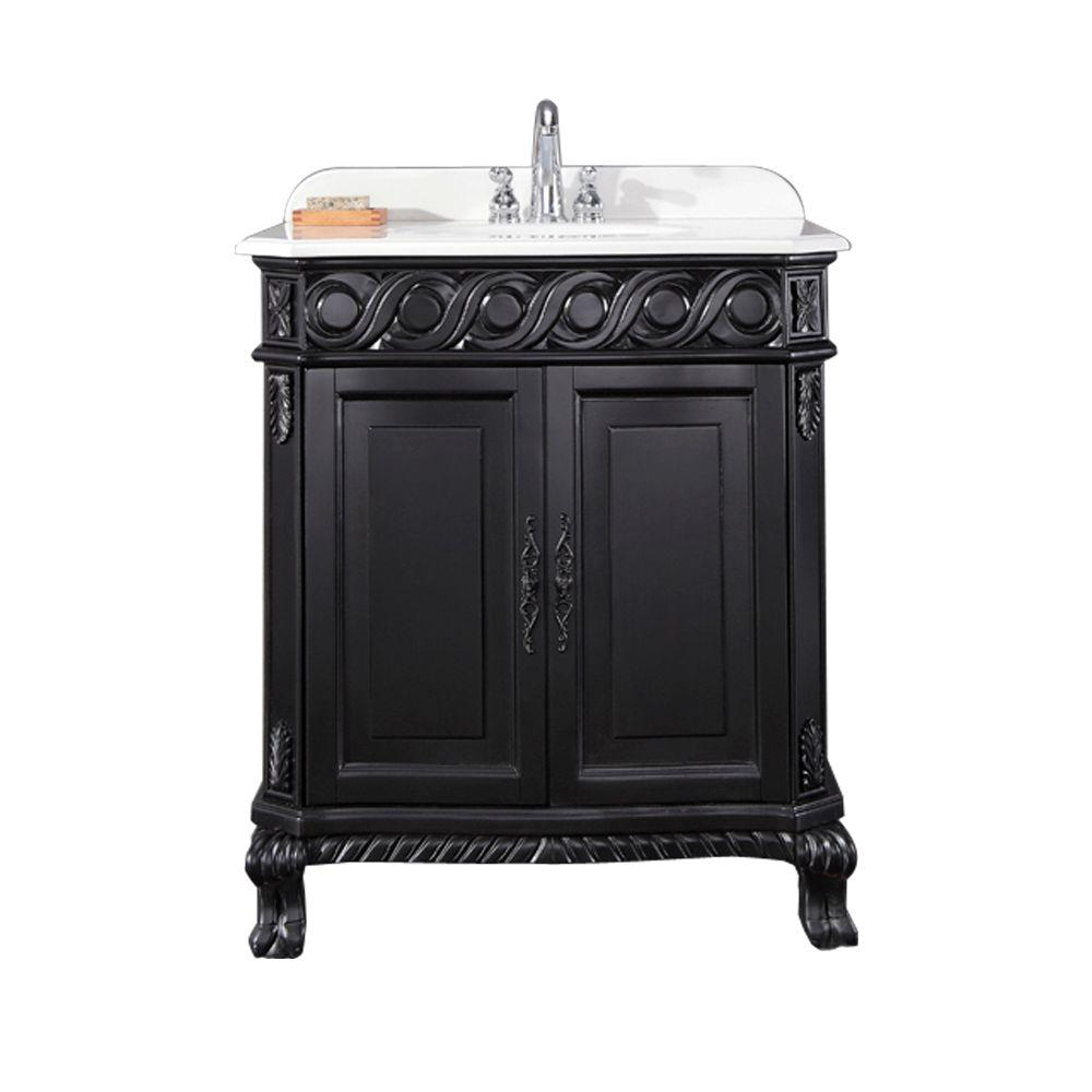 Vanity in Black Antique with Cultured Marble Vanity Top in - OVE Decors Trent 30 In. Vanity In Black Antique With Cultured Marble
