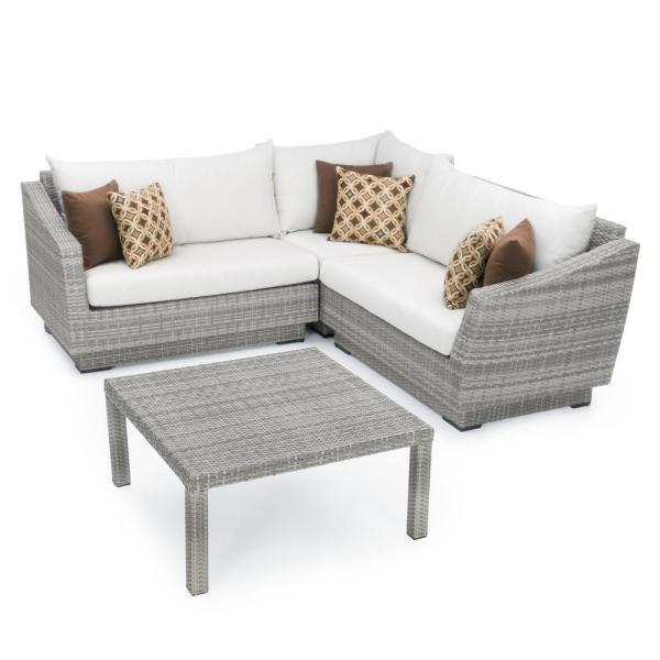 Cannes 4-Piece Patio Corner Sectional Set with Moroccan Cream Cushions