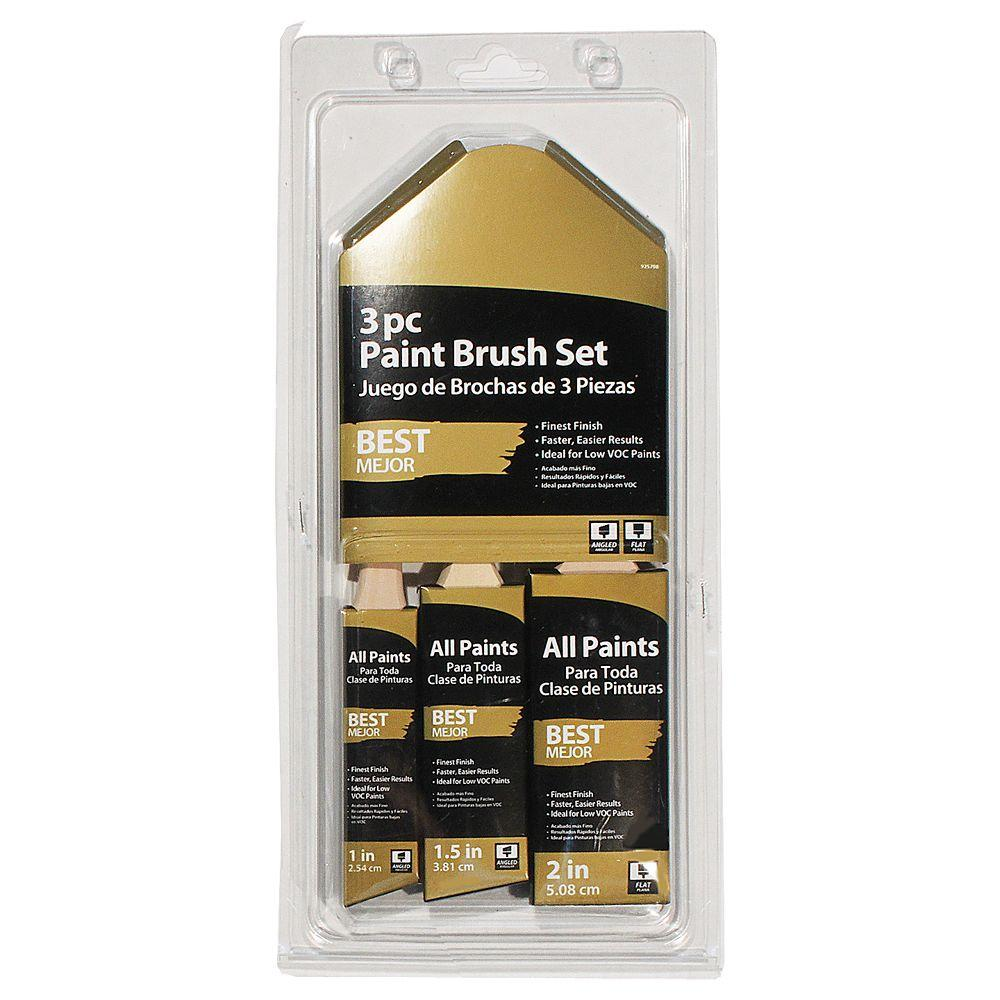 null 1 in., 1-1/2 in. Angled and 2 in. Flat Paint Brush Set