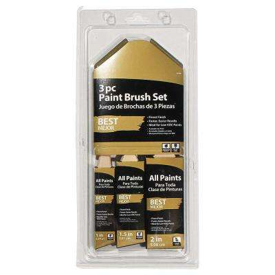 1 in., 1-1/2 in. Angled and 2 in. Flat Paint Brush Set