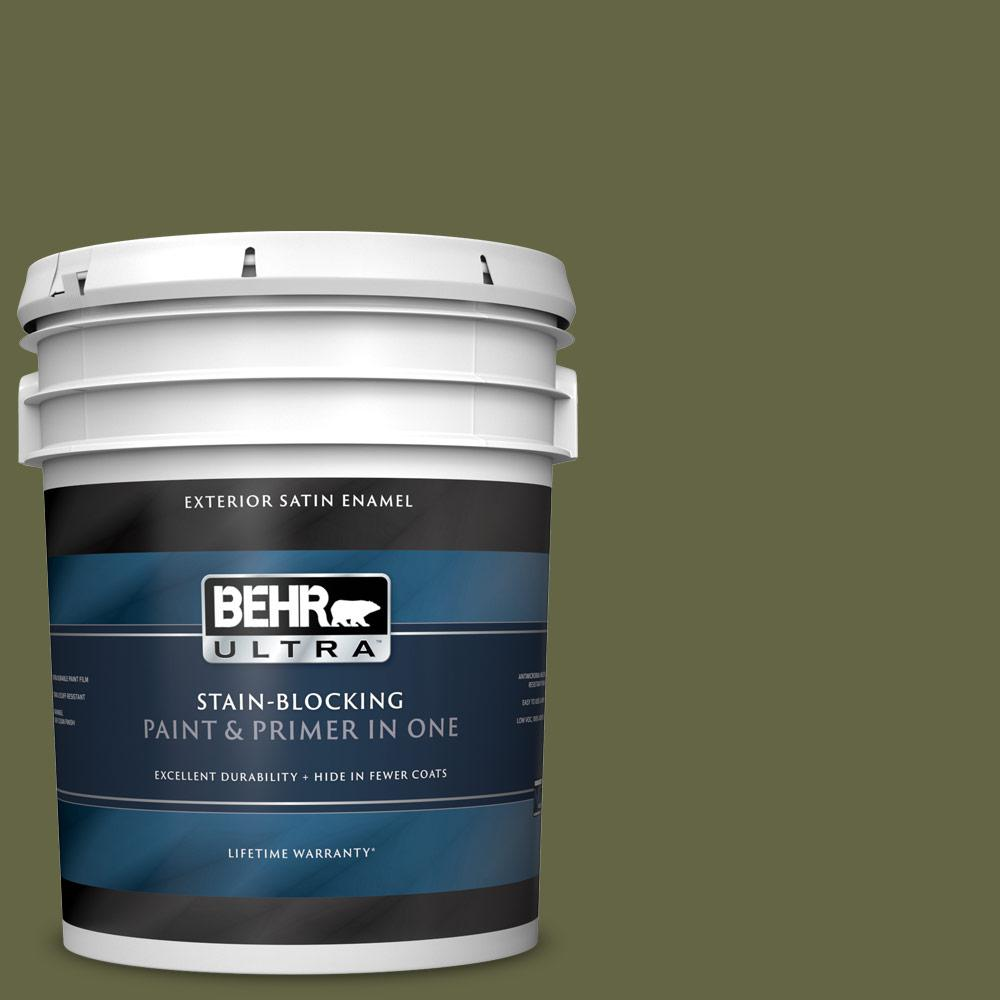 BEHR ULTRA 5 gal. #PPU9-24 Amazon Jungle Satin Enamel Exterior Paint and Primer in One BEHR ULTRA 5 gal. #PPU9-24 Amazon Jungle Satin Enamel Exterior Paint and Primer in One