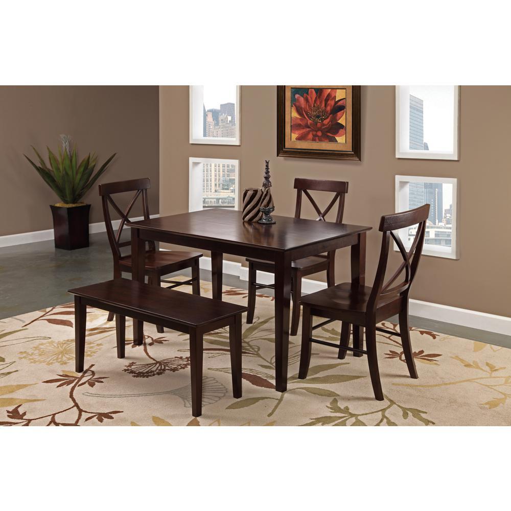 Rich Mocha Wood X Back Dining Chair (Set of 2)