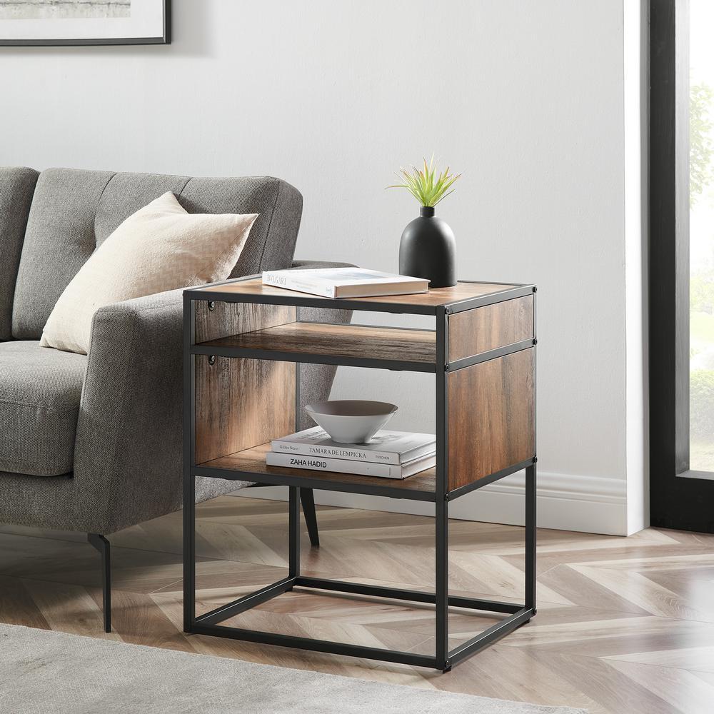 Reclaimed Barnwood Industrial Modern Side Table