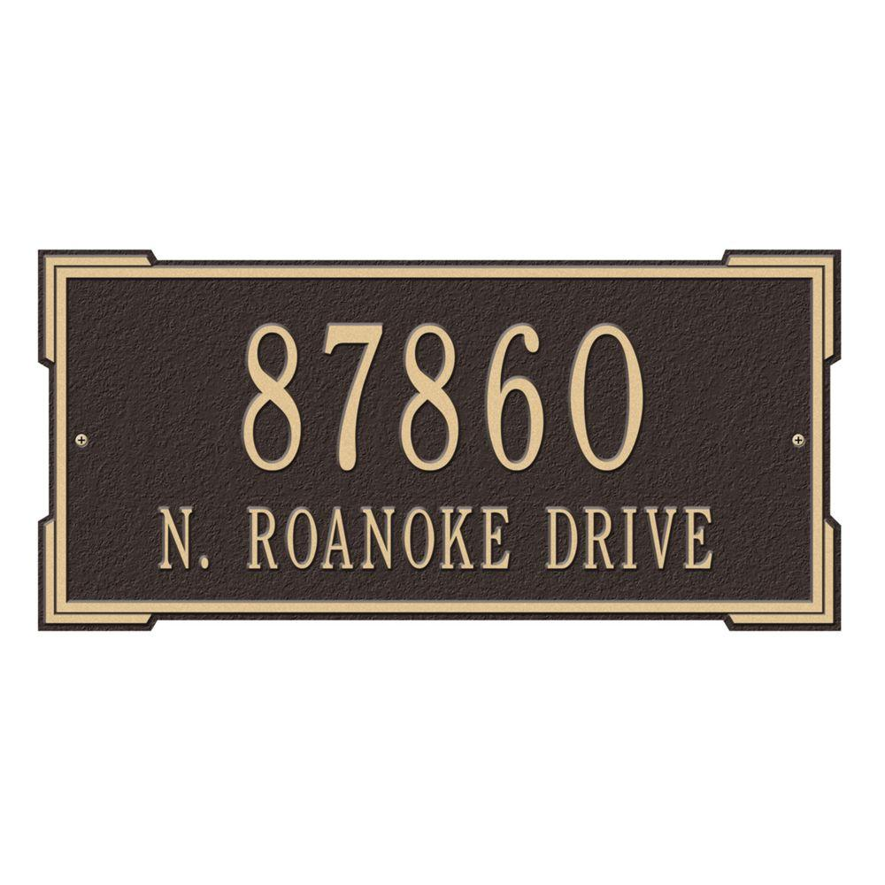 Whitehall Products Rectangular Roanoke Standard Wall 2-Line Address Plaque - Bronze/Gold