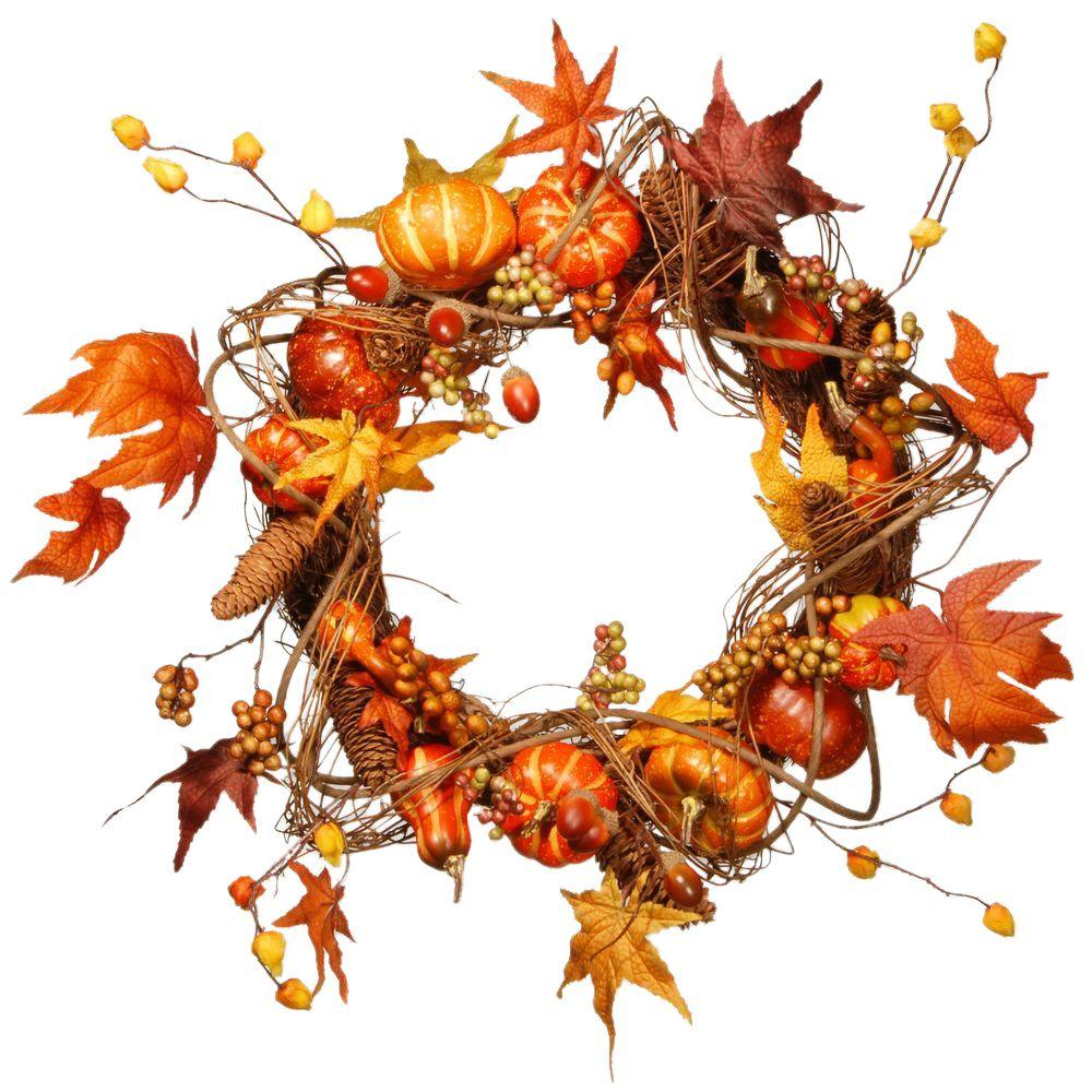 National Tree Company Harvest Accessories 21 in. Artificial Wreath with Pumpkins, Maples and Leaves