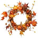 Harvest Accessories 21 in. Artificial Wreath with Pumpkins, Maples and Leaves