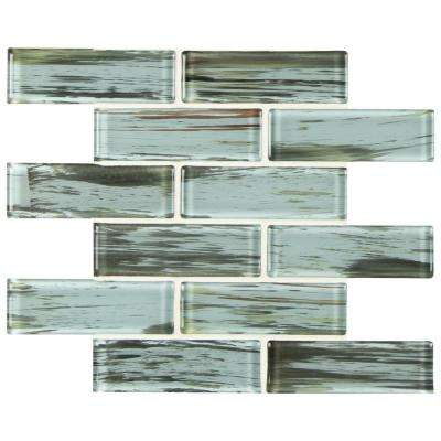 Verde Subway 11.75 in. x 12 in. x 8 mm Textured Glass Mesh-Mounted Mosaic Wall Tile(0.98 sq. ft.)