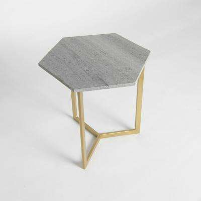 Marble Grey Hexagon Accent Table