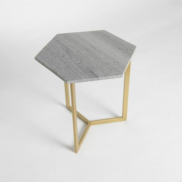 Best Home Fashion Marble Grey Hexagon Accent Table TABLE_PRINCE08-GREY