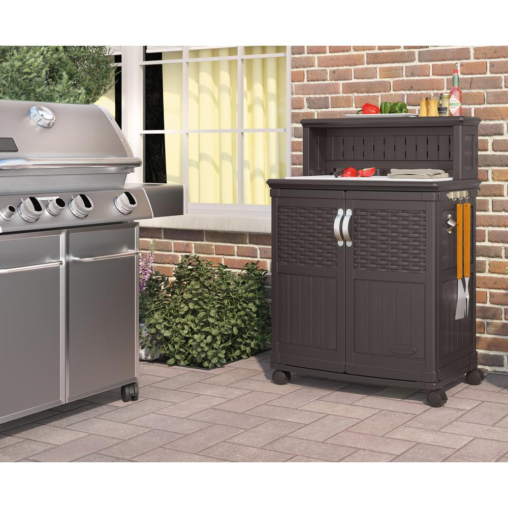 Patio Preparation Table With Storage Cabinet Wheeled Cart