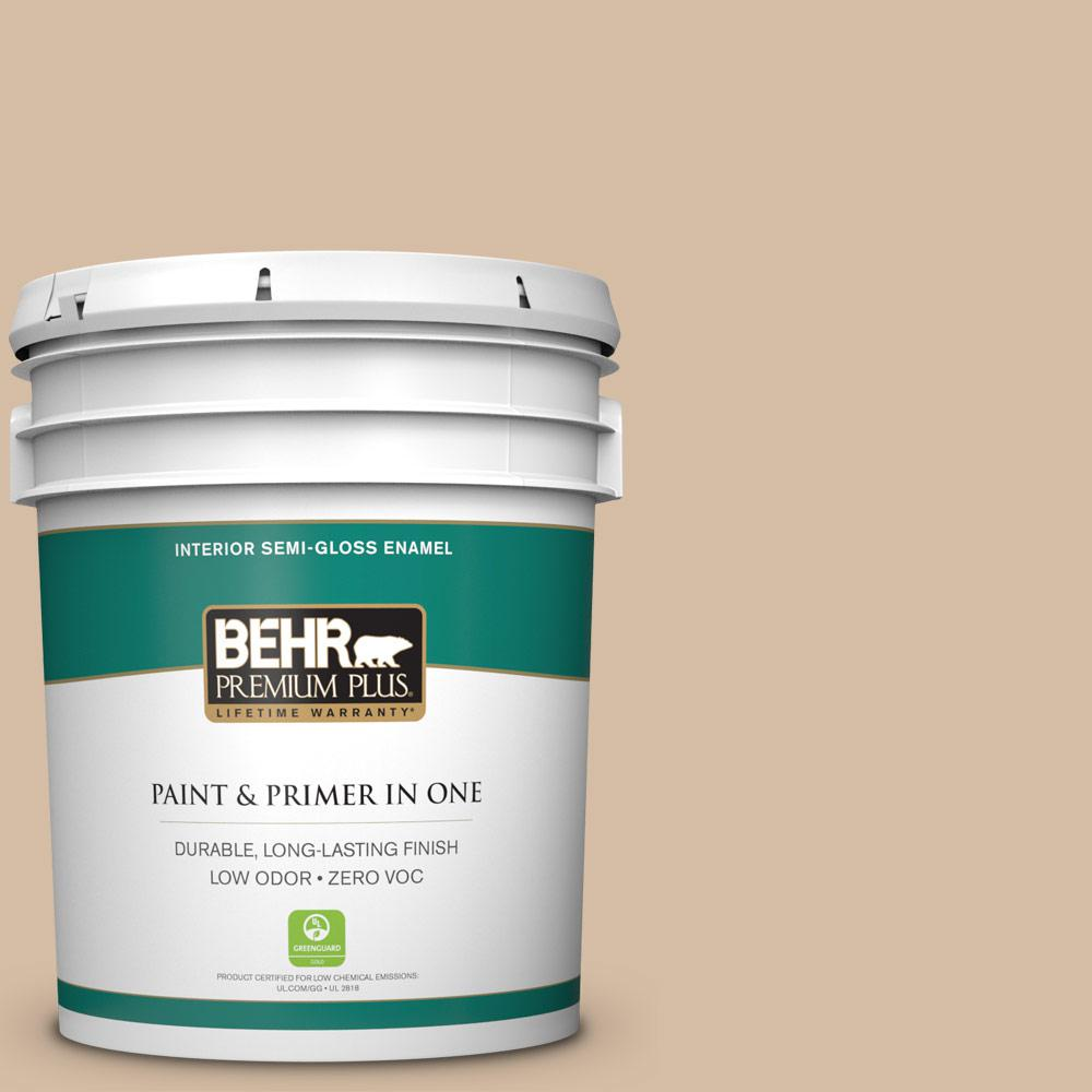 BEHR Premium Plus Home Decorators Collection 5-gal. #HDC-MD-12 Tiramisu Cream Zero VOC Semi-Gloss Enamel Interior Paint