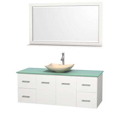 Centra 60 in. Vanity in White with Glass Vanity Top in Green, Ivory Marble Sink and 58 in. Mirror