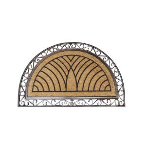 A1HC First Impression Hand-Crafted Elegant Half-Round 30 inch x 48 inch Coir Door Mat by