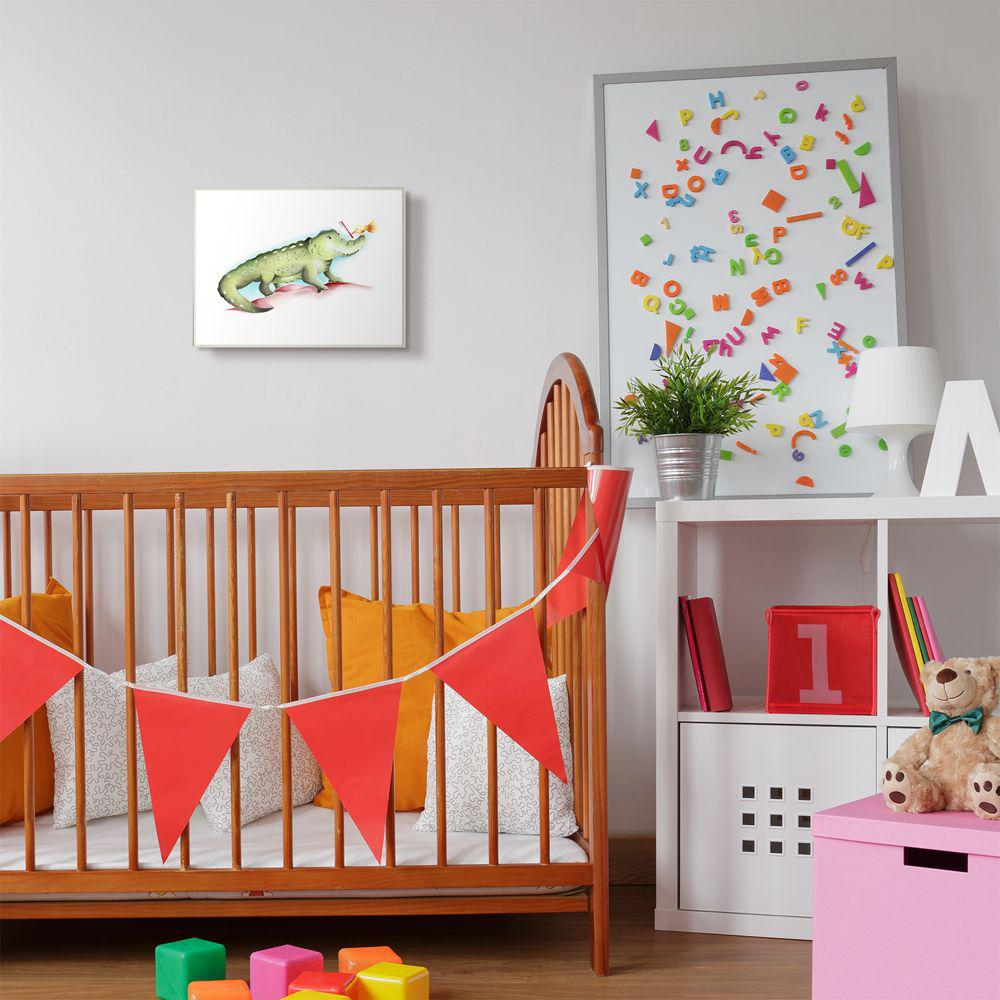 The Kids Room By Stupell 10 In X 15 In Cute Cartoon Baby Crocodile And Bird With Toothbrush Zoo Painting By Studio Q Wood Wall Art Brp 2408 Wd 10x15 The Home Depot