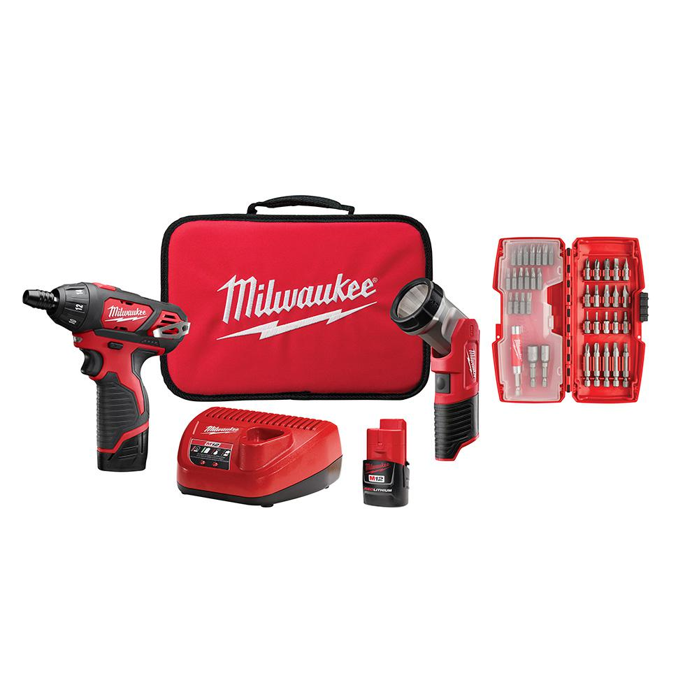 Milwaukee M12 12-Volt Lithium-Ion Cordless 1/4 in. Hex Screwdriver/LED Worklight Kit with (2) 1.5Ah Batteries,Bit Set & Bag