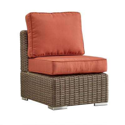 Camari Mocha Wicker Armless Middle Outdoor Sectional Chair with Red Cushion