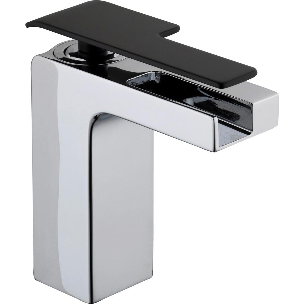 GLACIER BAY Glacier Bay Femke Single Hole Single-Handle Low-Arc Bathroom Faucet in Chrome and Matte Black