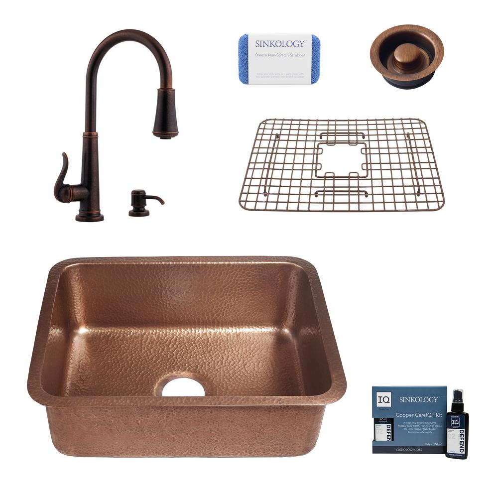 SINKOLOGY Renoir All-in-One Undermount Copper 23 in. Single Bowl Kitchen Sink with Pfister Ashfield Bronze Faucet and Drain