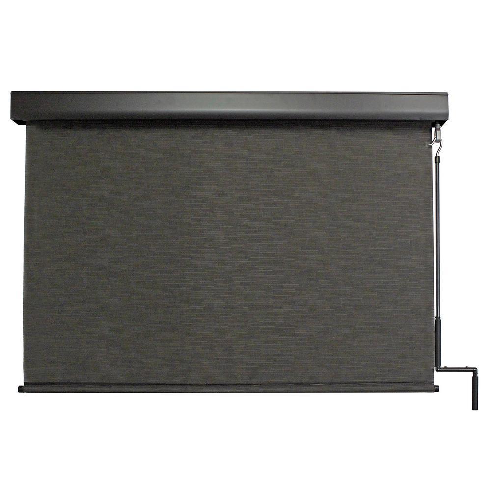 SeaSun Siesta Cordless Hand Crank UV Protection PVC Premium Exterior Roller Shade 120 in. W x 96 in. L