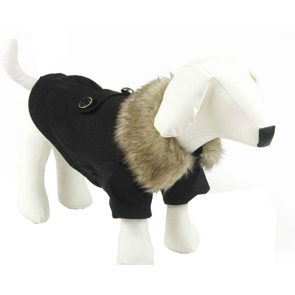 Medium Black Buttoned Coast-Guard Fashion Faux-Fur Collared Wool Dog Coat
