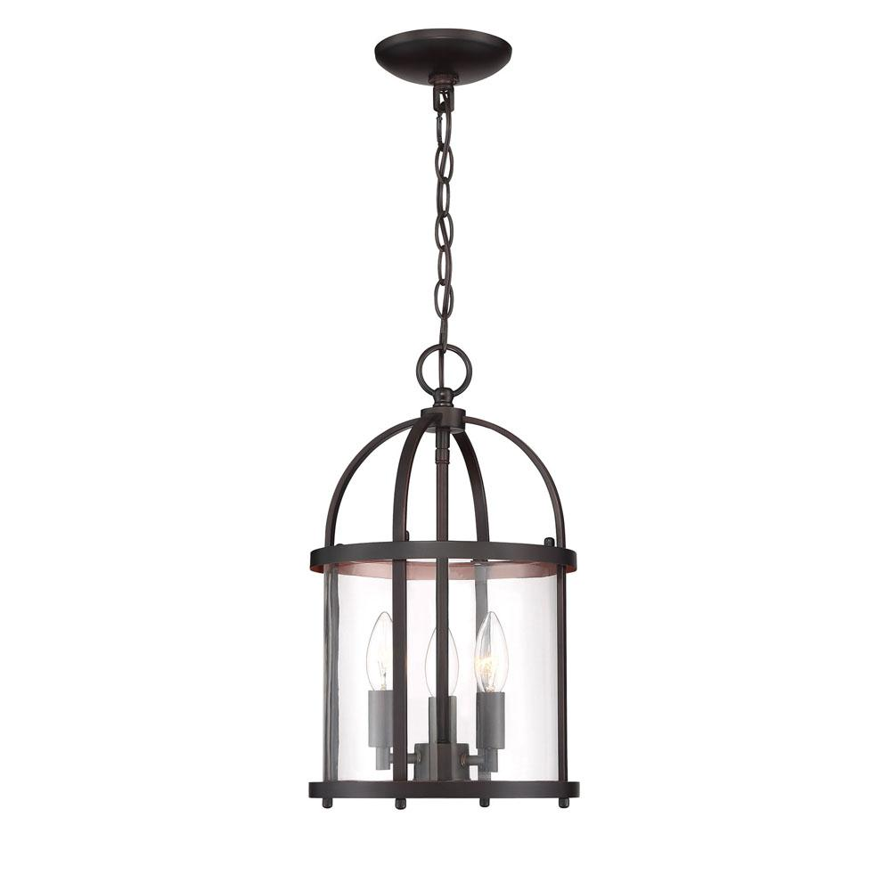 Cordelia Lighting Round Cage Style 3-Light Vintage Bronze Hanging Pendant with Clear Glass Shade